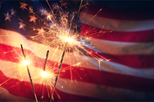 US flag and sparklers