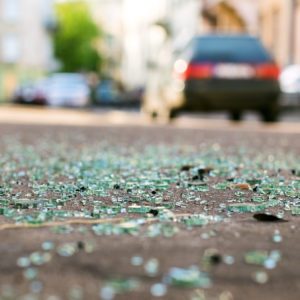 debris after a car accident in Baton Rouge