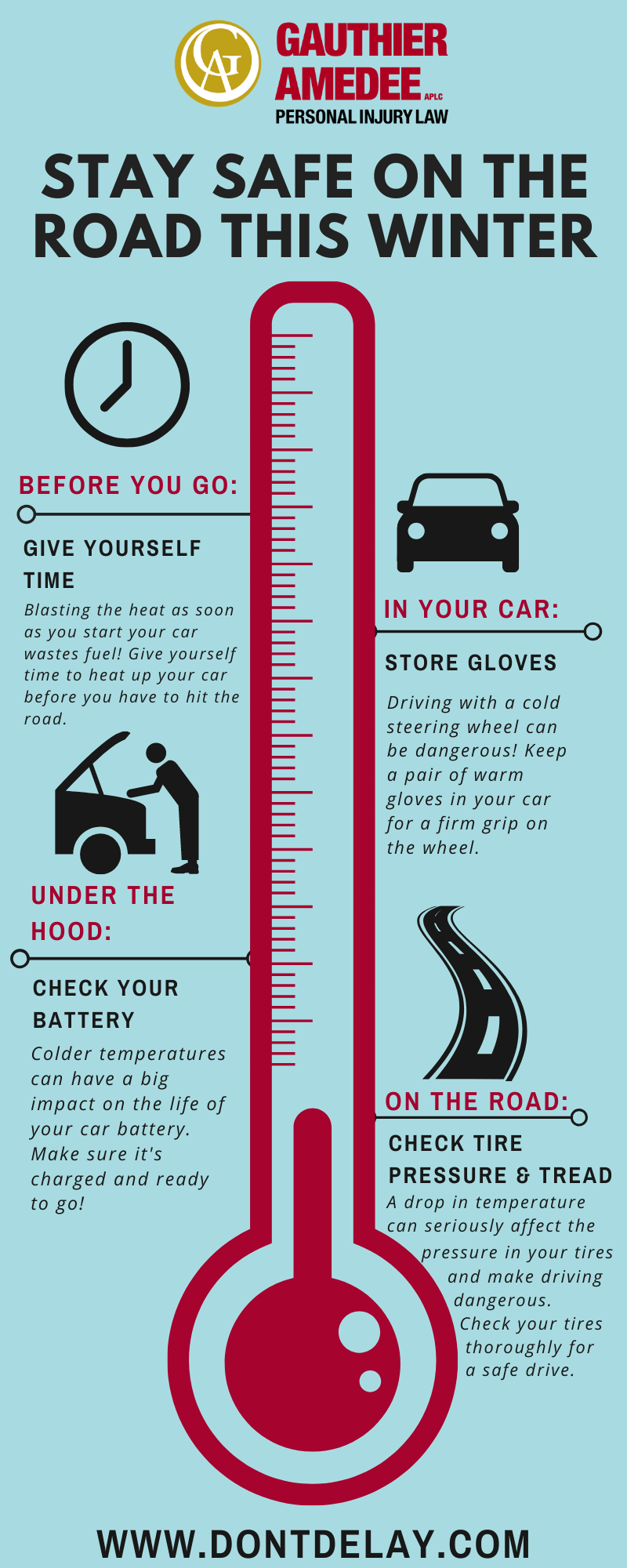 Baton Rouge, LA, winter driving tips infographic
