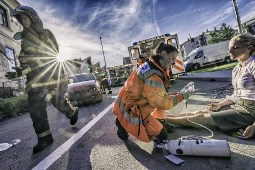 a woman receiving medical attention after a Baton Rouge car accident
